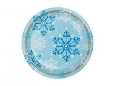 Snowflakes Large Paper Plates (8pcs)
