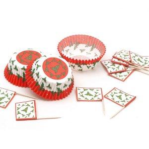 Γκι Χριστουγεννιάτικο Σετ Για Cupcakes 24/Τμχ