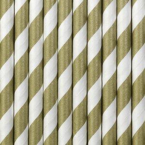 Καλαμάκια Άσπρα & Χρυσά 10τμχ