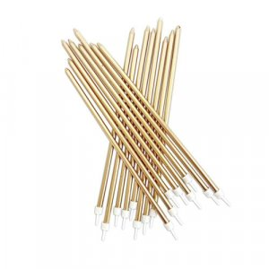 Gold Extra Tall Cake Candles 16/pcs