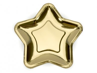 Gold Metallic Stars Large Paper Plates 6/pcs