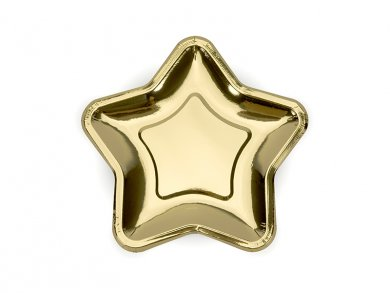 Metallic Gold Star shaped small paper plates 6/pcs