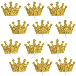 Gold Glitter Crowns Picks 12/pcs
