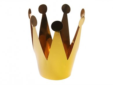 Gold Metallic Paper Crowns 3/pcs