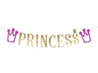 Gold Princess Garland with Fucshia Glitter Crowns