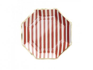 Gold foiled and Red stripes Large paper plates (8pcs)