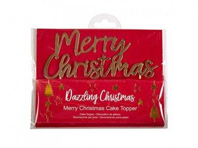 Gold Merry Christmas Cake topper
