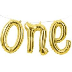 Gold ONE foil balloon garland