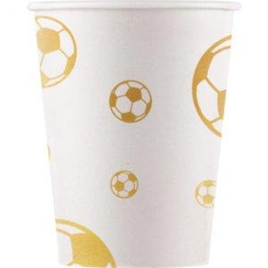 Χρυσό Ποδόσφαιρο Ποτήρια Χάρτινα (8τμχ)