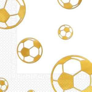 Gold Soccer Luncheon Napkins 15/pcs