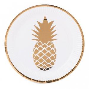 Gold Pineapple Paper Plates 8/pcs