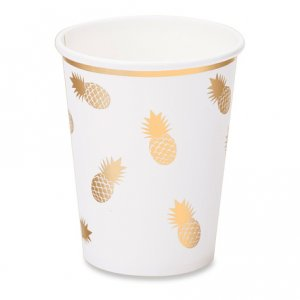 Gold Pineapple Paper Cups 8/pcs