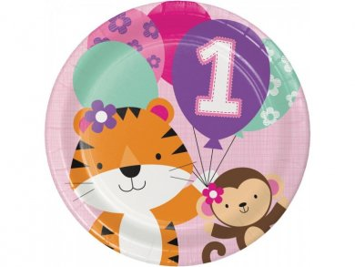Jungle Animals Large Paper Plates for First Birthday (8pcs)
