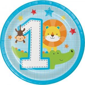 Ζωάκια Της Ζούγκλας Μικρά Χάρτινα Πιάτα Για Πρώτα Γενέθλια (8τμχ)