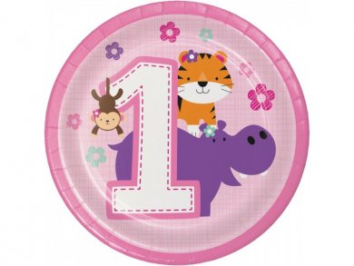 Jungle Animals Small Paper Plates for First Birthday 8/pcs