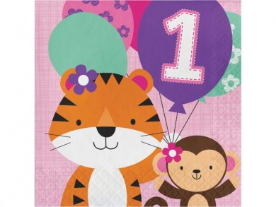 Jungle Animals Luncheon Napkins for First Birthday (16pcs)