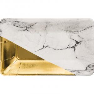 Elise Μαρμάρινο Σχέδιο και Χρυσό Μακρόστενα Πιάτα (8τμχ)