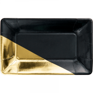 Elise Black and Gold Long Paper Plates (8pcs)
