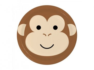Monkey Face Small Paper Plates 8pcs