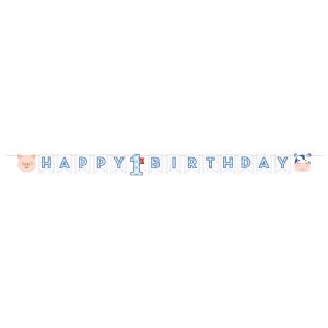 Ζωάκια της Φάρμας Μπλε Γιρλάντα για Πρώτα Γενέθλια (2,4μ)