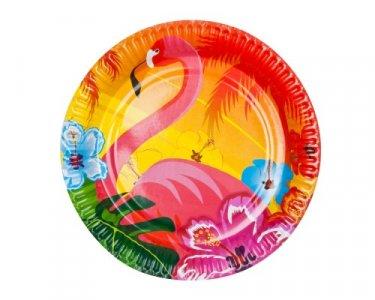 Flamingo and Hibiscus Large Paper Plates (6pcs)
