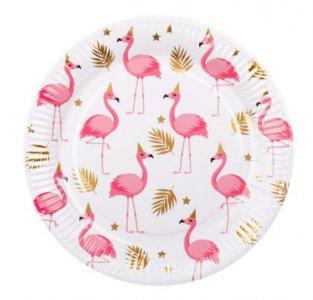 Flamingo with Gold Foiled Details Large Paper Plates (6pcs)