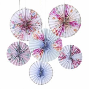 Floral Pastel Decorative Paper Fans For Party Decoration (6pcs)