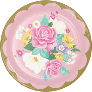 Floral Tea Party Large Paper Plates (8pcs)