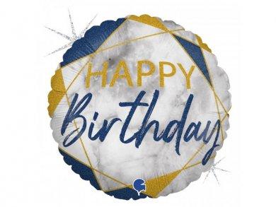 Foil Balloon Marble Happy Birthday Blue 46cm
