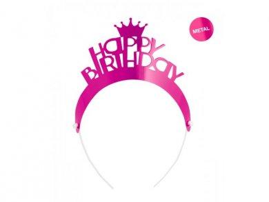 Fuchsia Happy Birthday Tiaras (4pcs)