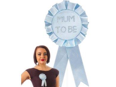 Pale Blue Mum to Be Rosette with Diamante Stones