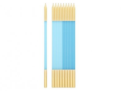 Light Blue Extra Tall Cake Candles with Gold Finishing (10pcs)