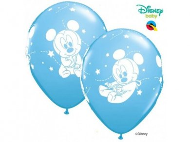 Pale Blue Latex Balloons with Baby Mickey (6pcs)