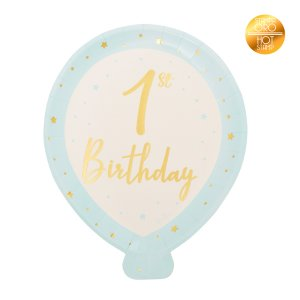 Blue Balloon Shaped Paper Plates for First Birthday (8pcs)