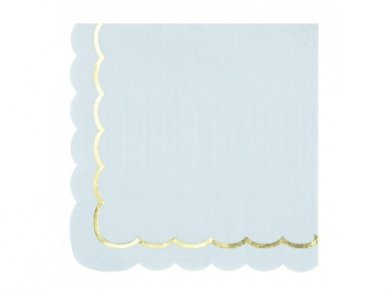 Pale Blue Luncheon Napkins with Gold Foiled Edge (16pcs)