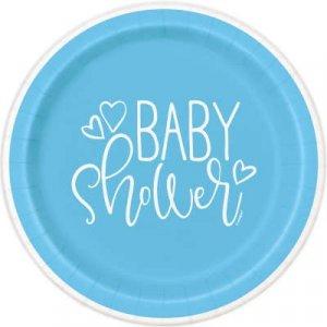 Γαλάζιο Baby Shower Μεγάλα Πιάτα Χάρτινα (8τμχ)