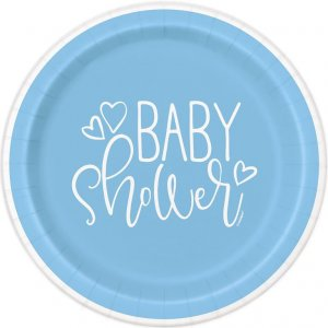 Pale Blue Baby Shower Small Paper Plates (8pcs)