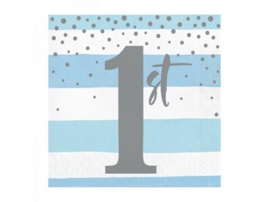 Pale Blue and Silver Luncheon Napkins for First Birthday (16pcs)