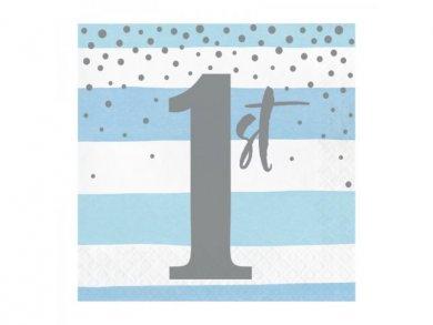 Γαλάζιο και Ασημί Χαρτοπετσέτες για Πρώτα Γενέθλια (16τμχ)