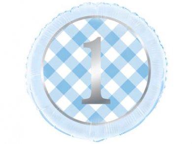 Γαλάζιο Καρό Foil Μπαλόνι με τον Αριθμό 1 (45εκ)