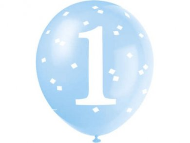Blue Gingham Latex Balloons for First Birthday (5pcs)