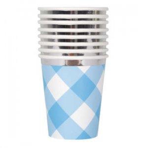 Blue Gingham Paper Cups (8pcs)