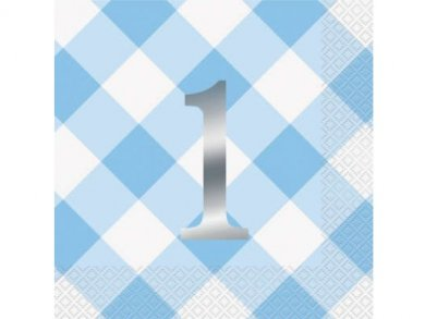 Γαλάζιο Καρό Χαρτοπετσέτες για τα Πρώτα Γενέθλια (16τμχ)