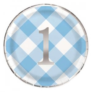 Blue Gingham Large Paper Plates with Silver Foiled Number 1 (8pcs)