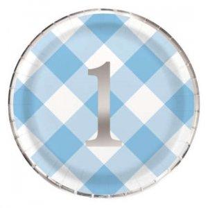 Γαλάζιο Καρό Μεγάλα Χάρτινα Πιάτα για Πρώτα Γενέθλια (8τμχ)
