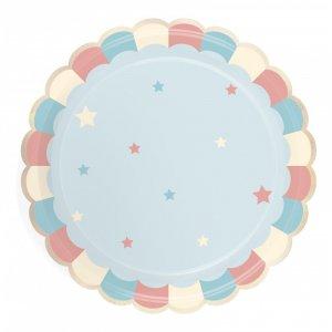 Γαλάζιο Μοτίβο Πιάτα Χάρτινα Με Χρυσοτυπία (8τμχ)