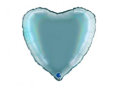 Γαλάζιο με Ολογραφικό Τύπωμα Μπαλόνι Καρδιά (46εκ)