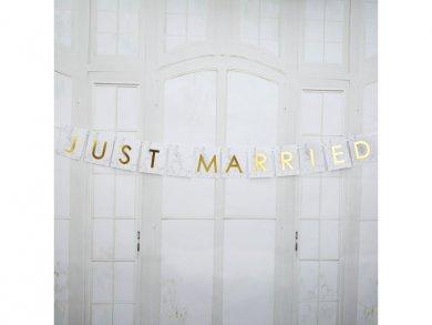 Γιρλάντα για το Αυτοκίνητο Άσπρο Marble Just Married (1μ)