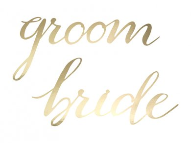Gold Signs Bride & Groom