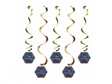 Navy Blue and Gold Birthday Party Hanging Decorations (5pcs)